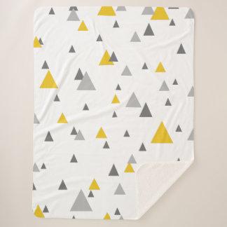 Yellow & Gray Triangles Geometric Pattern Sherpa Blanket
