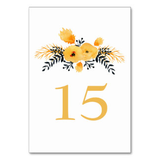 yellow gray watercolor floral wedding table number table card
