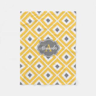 Yellow, Gray, White Ikat Diamond Pattern Fleece Blanket
