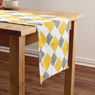 Yellow Gray White Watercolor Color Block Pattern Short Table Runner