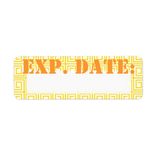 Yellow Greek Expiration Date Labels