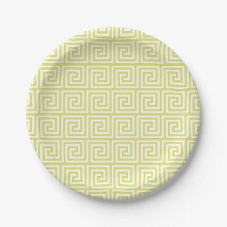 Yellow Greek Key Pattern Paper Plate