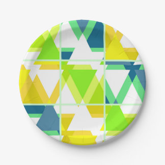 Yellow green abstract paper plate