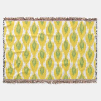 Yellow Green Abstract Tribal Ikat Diamond Pattern Throw Blanket