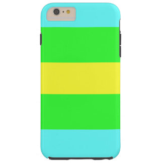 Yellow Green and Blue Wide Stripes Tough iPhone 6 Plus Case