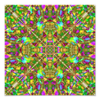 Yellow Green and Pink Mandala Pattern Photo