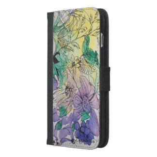 Yellow green and violet floral iPhone 6/6s wallet