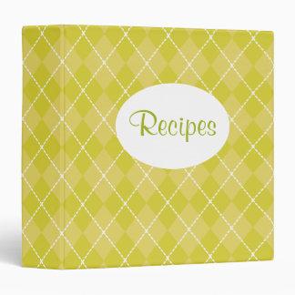 Yellow Green Argyle Recipe Binder
