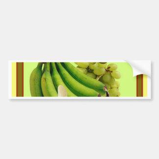 YELLOW-GREEN BANANAS GREEN GRAPES ART DESIGN BUMPER STICKER