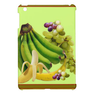 YELLOW-GREEN BANANAS GREEN GRAPES ART DESIGN iPad MINI CASE