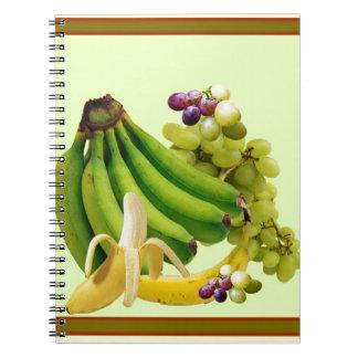 YELLOW-GREEN BANANAS GREEN GRAPES ART DESIGN NOTEBOOK