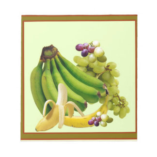 YELLOW-GREEN BANANAS GREEN GRAPES ART DESIGN NOTEPAD