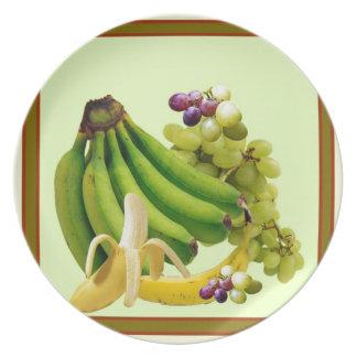 YELLOW-GREEN BANANAS GREEN GRAPES ART DESIGN PLATE