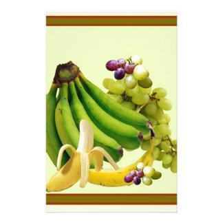 YELLOW-GREEN BANANAS GREEN GRAPES ART DESIGN STATIONERY