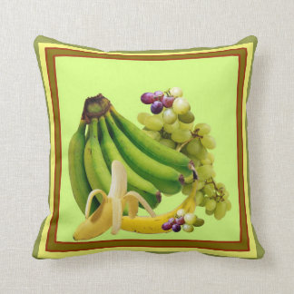 YELLOW-GREEN BANANAS GREEN GRAPES ART DESIGN THROW PILLOW