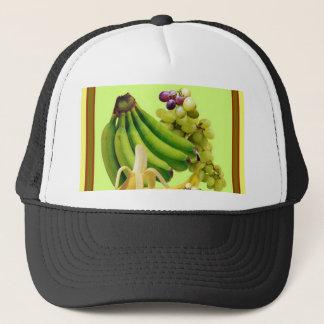 YELLOW-GREEN BANANAS GREEN GRAPES ART DESIGN TRUCKER HAT