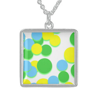 Yellow Green Big Circle Silver Square Necklace