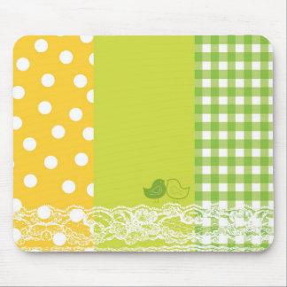 Yellow & Green Birds Scrapbook Lace Mousepad