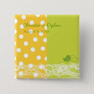 Yellow Green Birds Scrapbook Lace Wedding Button