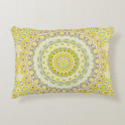 Yellow, Green, Blue and Grey Kaleidoscope Flowers Accent Pillow