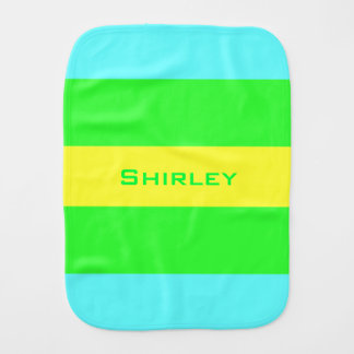Yellow, Green, Blue Wide Stripes by Shirley Taylor Burp Cloth