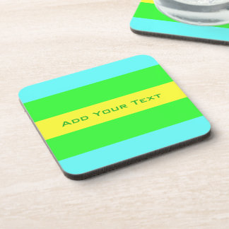 Yellow, Green, Blue Wide Stripes by Shirley Taylor Coaster