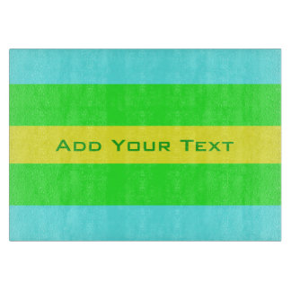Yellow, Green, Blue Wide Stripes by Shirley Taylor Cutting Board