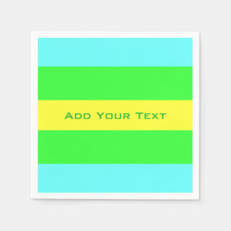 Yellow, Green, Blue Wide Stripes by Shirley Taylor Disposable Napkins