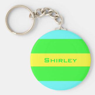 Yellow, Green, Blue Wide Stripes by Shirley Taylor Keychain
