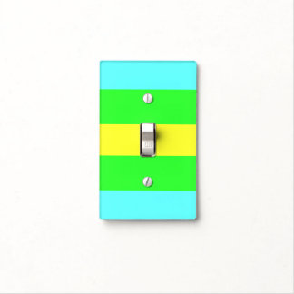 Yellow, Green, Blue Wide Stripes by Shirley Taylor Light Switch Cover
