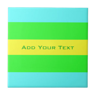 Yellow, Green, Blue Wide Stripes by Shirley Taylor Tile