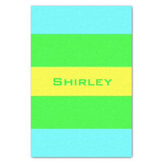 Yellow, Green, Blue Wide Stripes by Shirley Taylor Tissue Paper