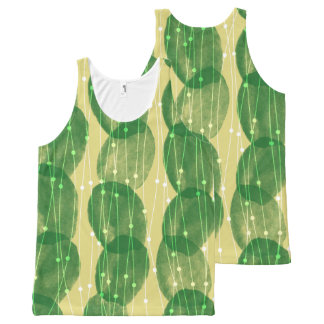 Yellow Green Cactus Fringe All-Over-Print Tank Top