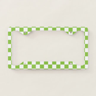 Yellow Green Checkerboard License Plate Frame