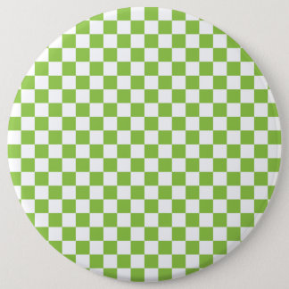Yellow Green Checkerboard Pattern 6 Inch Round Button