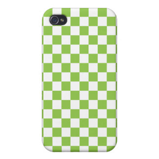 Yellow Green Checkerboard Pattern Cover For iPhone 4