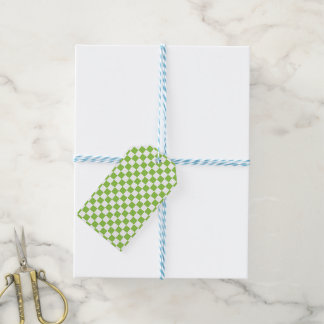 Yellow Green Checkerboard Pattern Gift Tags