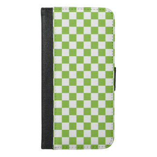 Yellow Green Checkerboard Pattern iPhone 6/6s Plus Wallet Case