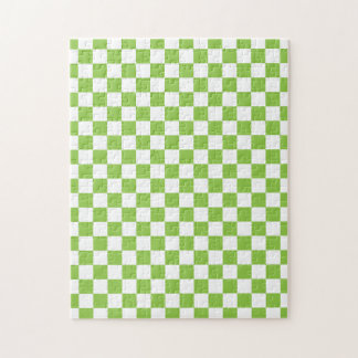 Yellow Green Checkerboard Pattern Jigsaw Puzzle
