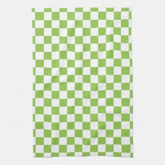 Yellow Green Checkerboard Pattern Kitchen Towel