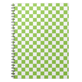 Yellow Green Checkerboard Pattern Notebooks