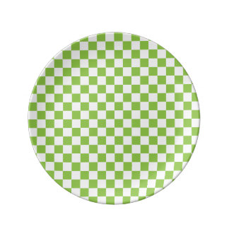 Yellow Green Checkerboard Pattern Plate