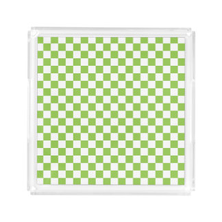 Yellow Green Checkerboard Pattern Serving Tray