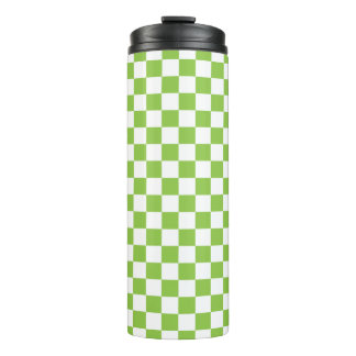 Yellow Green Checkerboard Pattern Thermal Tumbler
