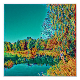 Yellow Green Countryside Landscape Poster