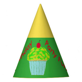 Yellow Green Cupcake Birthday Hats