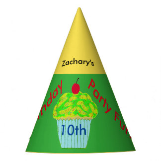 Yellow Green Cupcake Personalized Birthday Hats