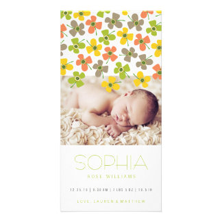 Yellow Green Daisies Baby Girl Birth Announcement Card