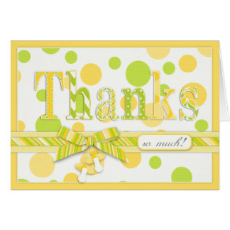 Yellow Green Dots Thank You Card