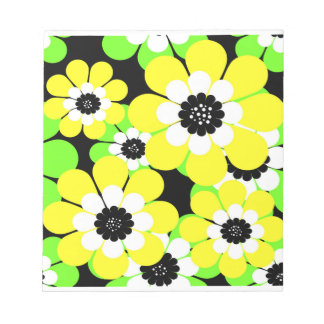 Yellow green flowers notepad